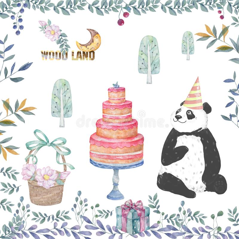 Cute panda cartoon tasty card, cake, wooden basket and floral beauty flowers leaves illustration for party invitation, birthday, vector illustration