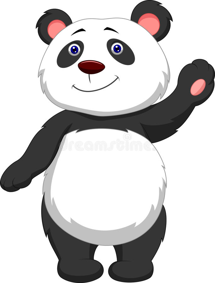 Cute panda cartoon waving stock illustration