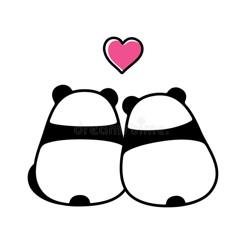 Cute panda couple in love vector illustration