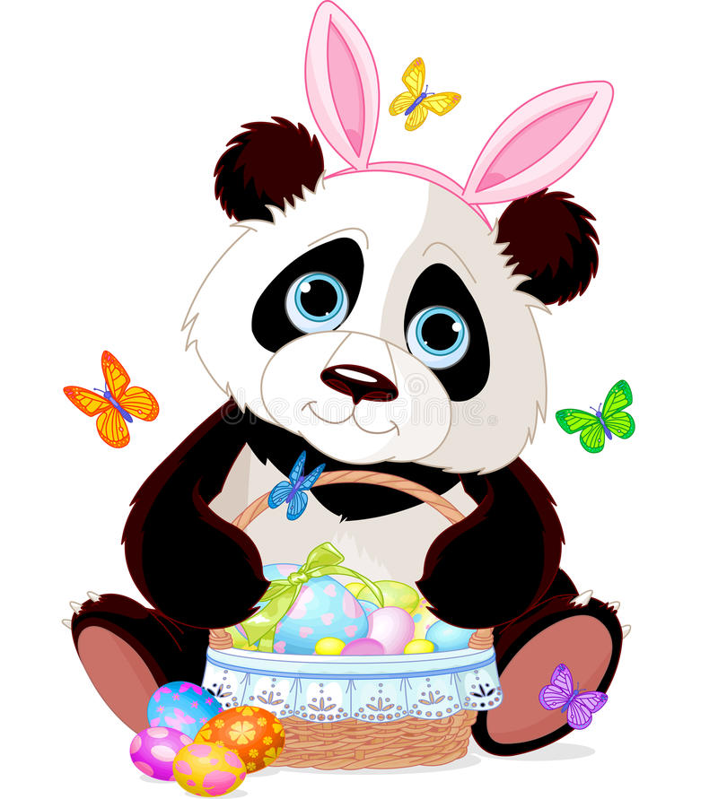 Cute Panda with Easter basket royalty free illustration