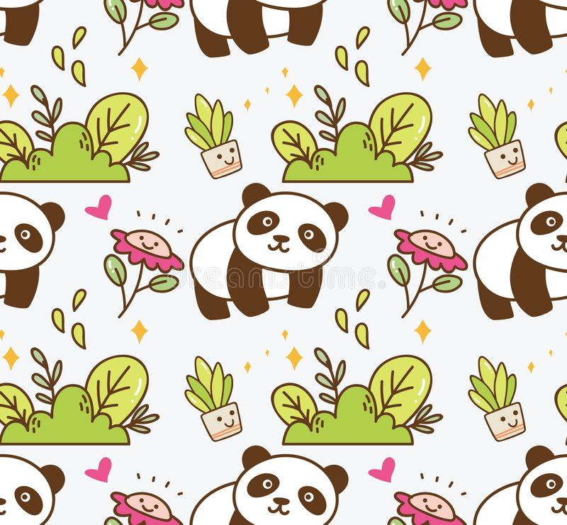 Cute panda with flower seamless background royalty free illustration
