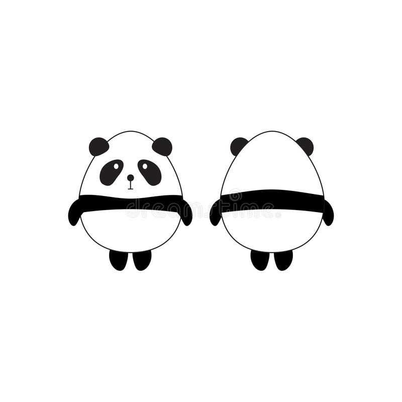 Cute Panda Front and Back View royalty free illustration
