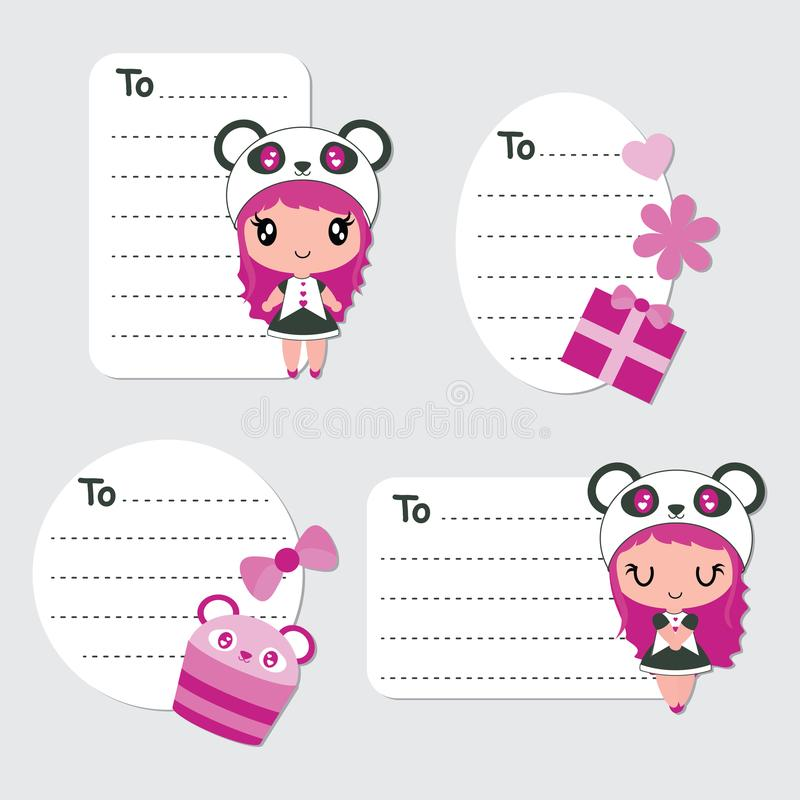 Cute panda girl, cupcake, and gift vector cartoon illustration for birthday gift tags design vector illustration