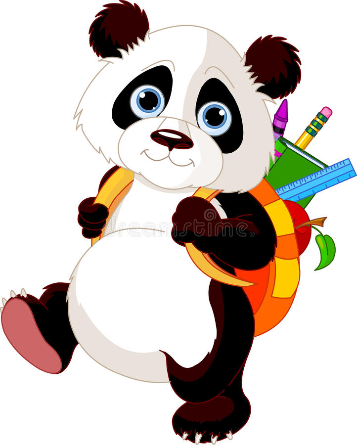 Cute panda go to school. Cute panda on his way to school stock illustration