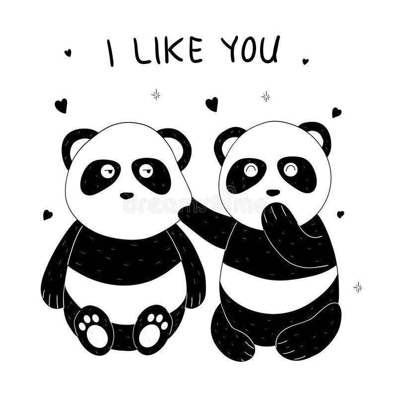 Cute panda hand drawn vector illustration