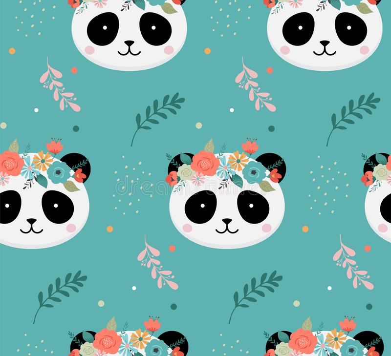 Cute panda heads with flower crown, vector seamless pattern design for nursery, poster, birthday greeting card stock illustration