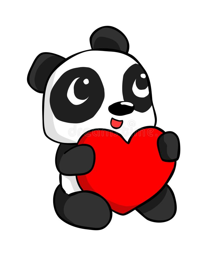 Cute panda hugs heart sitting posture isolated on white background royalty free stock photography