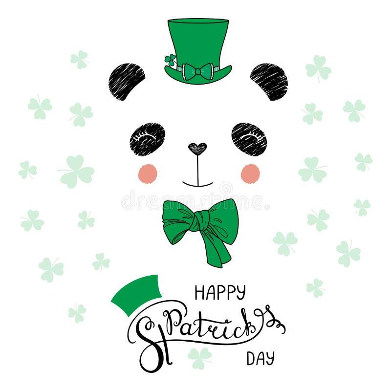 Cute Panda In Leprechaun Hat Stock Vector Illustration Of