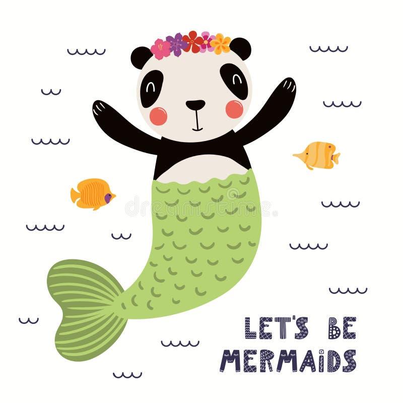 Cute panda mermaid vector illustration