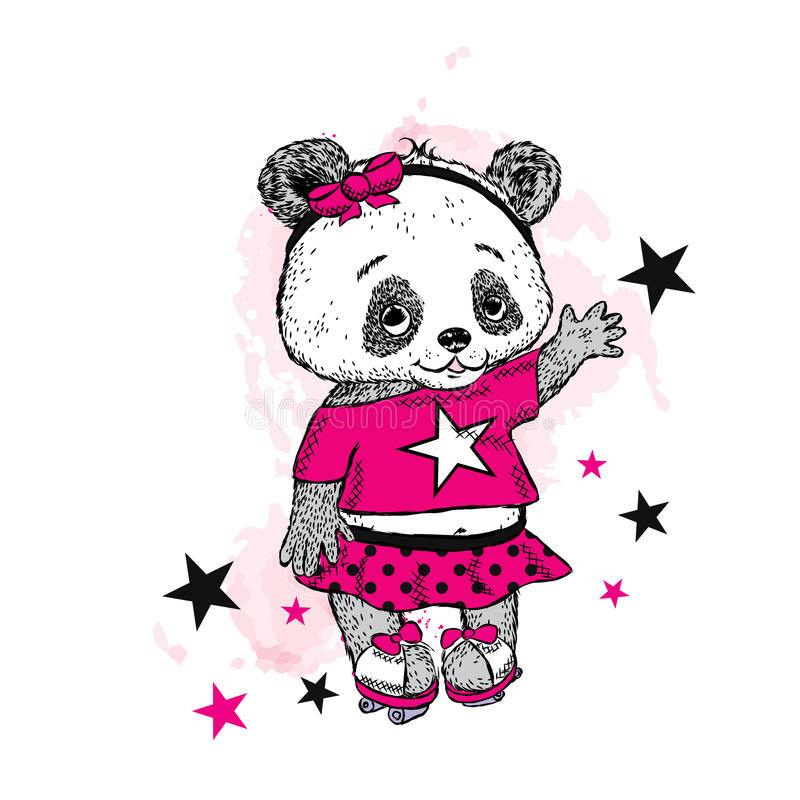 Free Cute Panda On Roller Skates. Pretty Girl In A Skirt. Vector Illustration For A Card Or Poster. Print On Clothes. Childhood. Stock Photo - 81109610