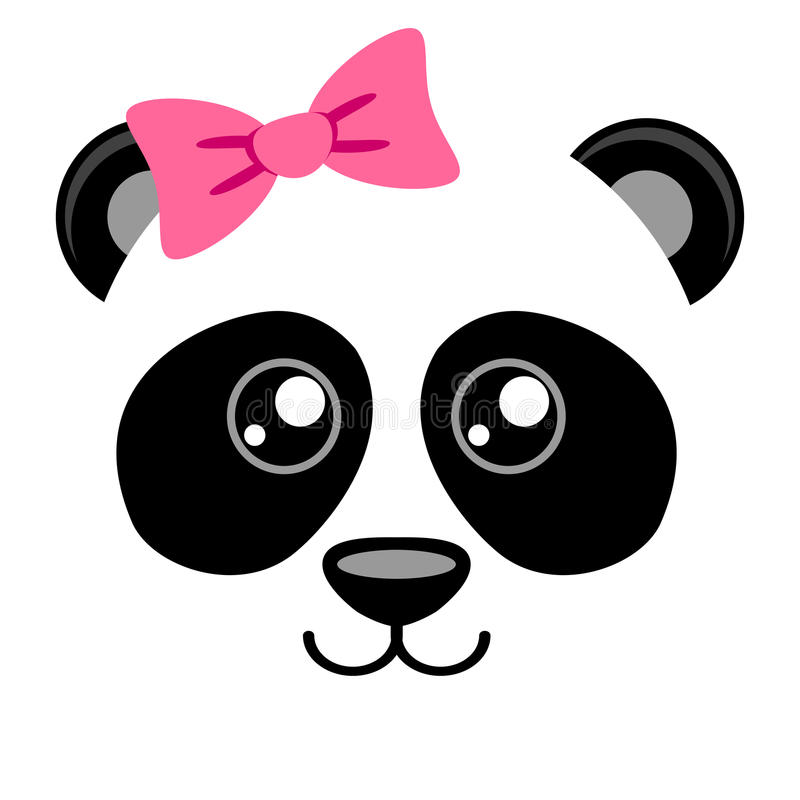 Cute panda with pink bow. Girlish print with chinese bear for t-shirt. Vector illustration stock illustration