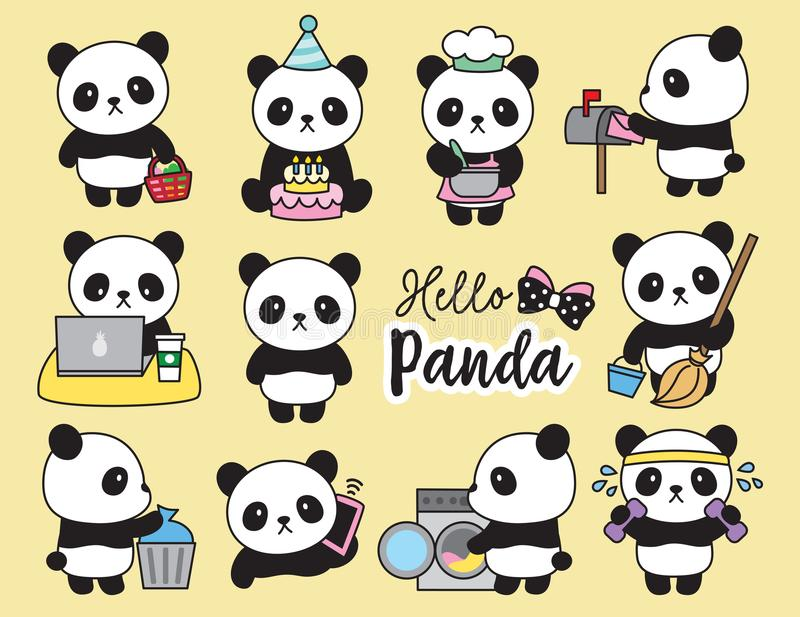 Cute Panda Planner Activities. Vector illustration of cute panda planner activities including cooking, cleaning, working, doing laundry, working out, grocery vector illustration
