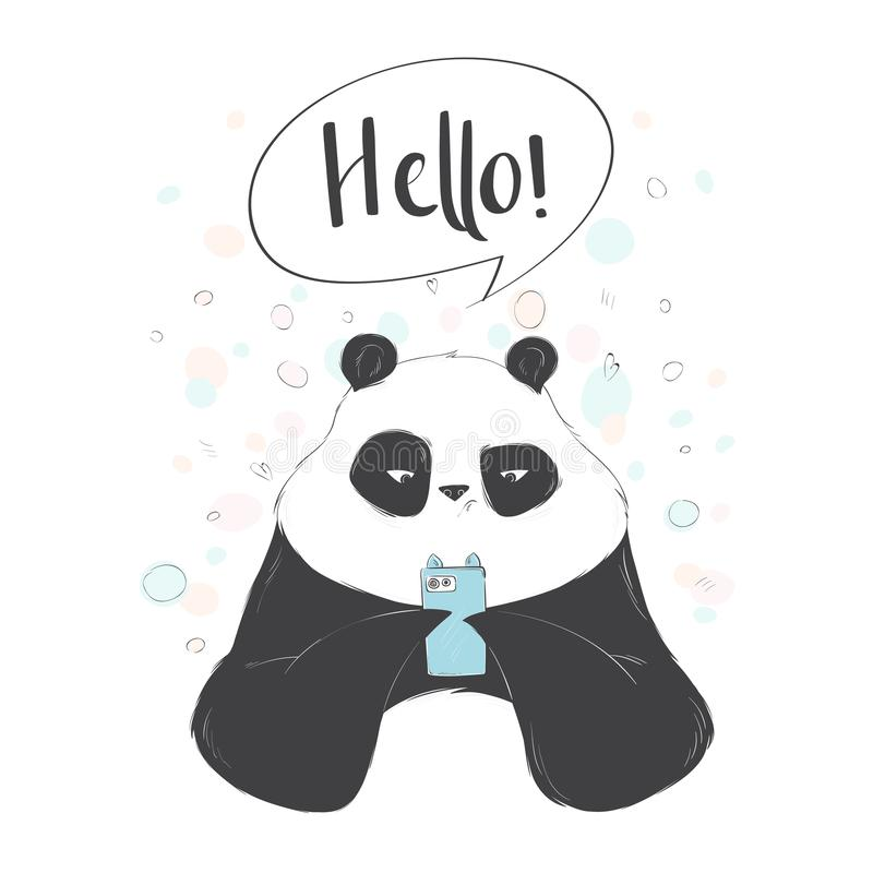 Cute panda playing in smarthphone. Social internet vector illustration with lettering stock illustration