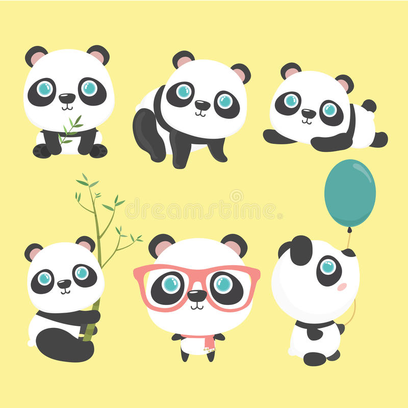 Cute panda set. vector illustration