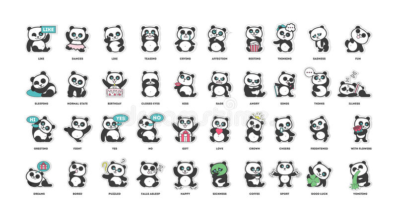 Cute panda, stickers collection, in different poses, different moods royalty free illustration