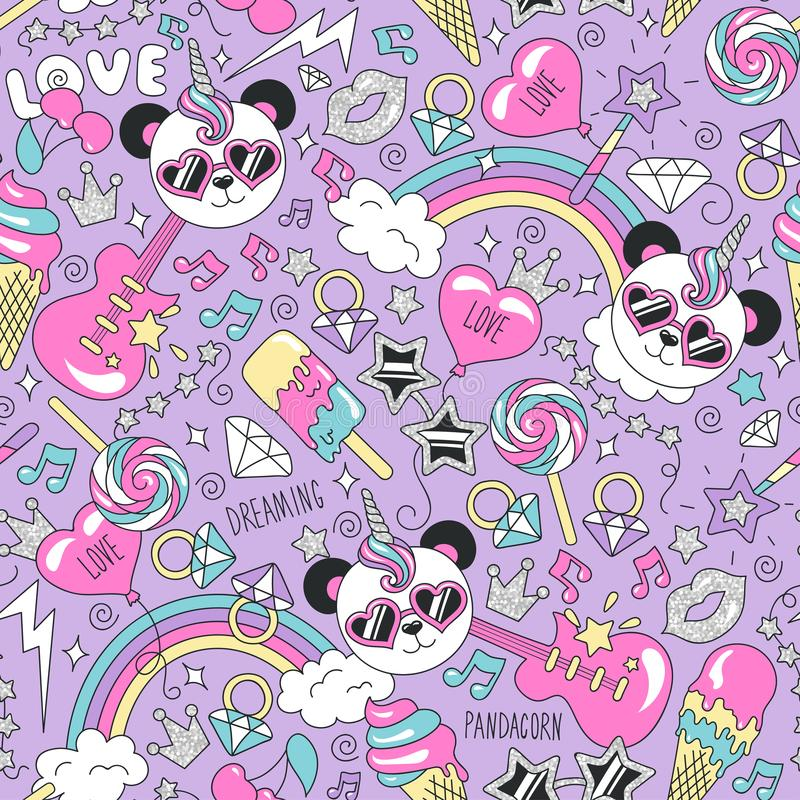 Cute panda unicorn pattern on a lilac background. Colorful trendy seamless pattern. Fashion illustration drawing in modern style vector illustration