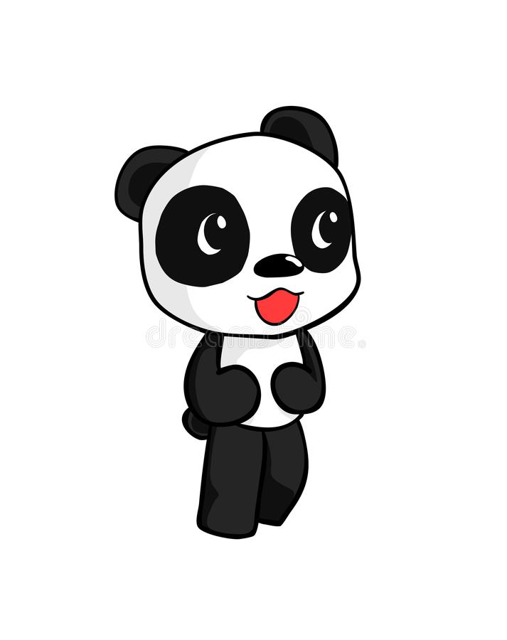 Cute panda walking smile on his face isolated on white background royalty free stock photography