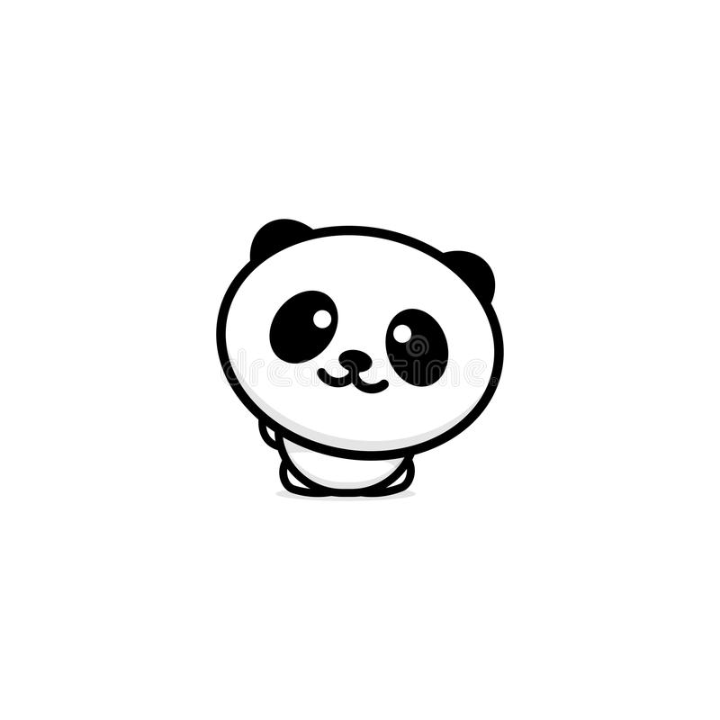 Cute Panda Welcomes Waving His Hand Vector Illustration Baby Bear Logo New Design Line Art Chinese Teddy Black Color Sign Simple Image