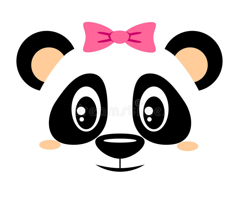 Free Cute Panda With Pink Bow. Girlish Print With Chinese Bear For T-shirt Stock Photos - 98026203