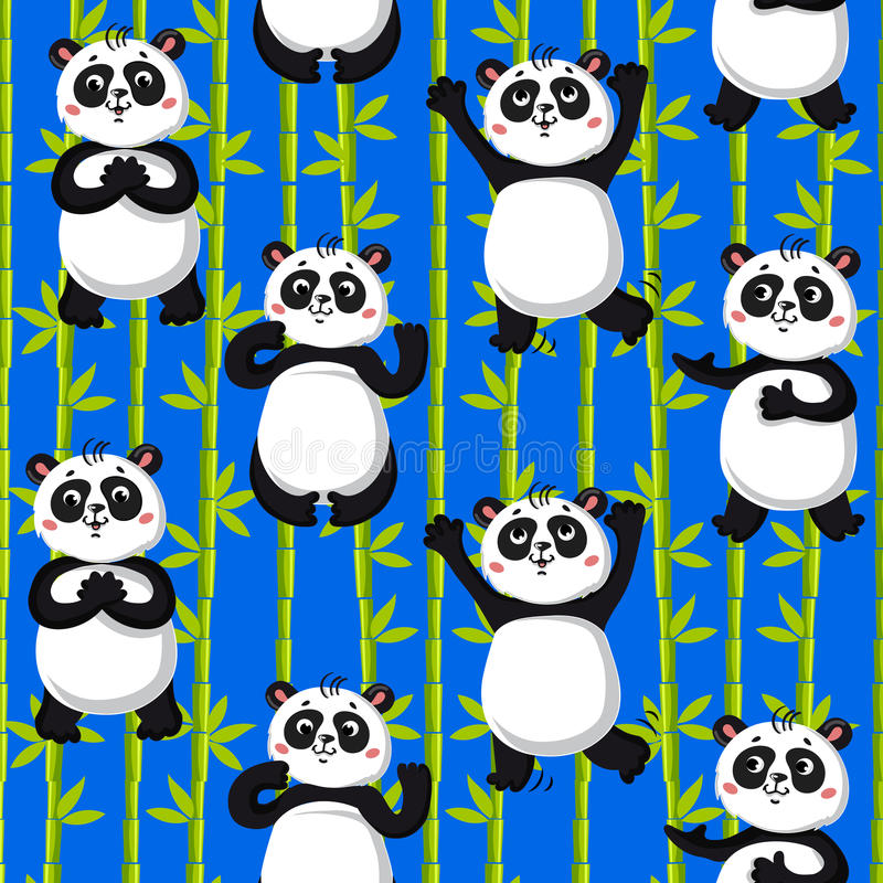 Cute pandas and bamboo. Seamless pattern . cute pandas and bamboo. Vector illustration stock illustration