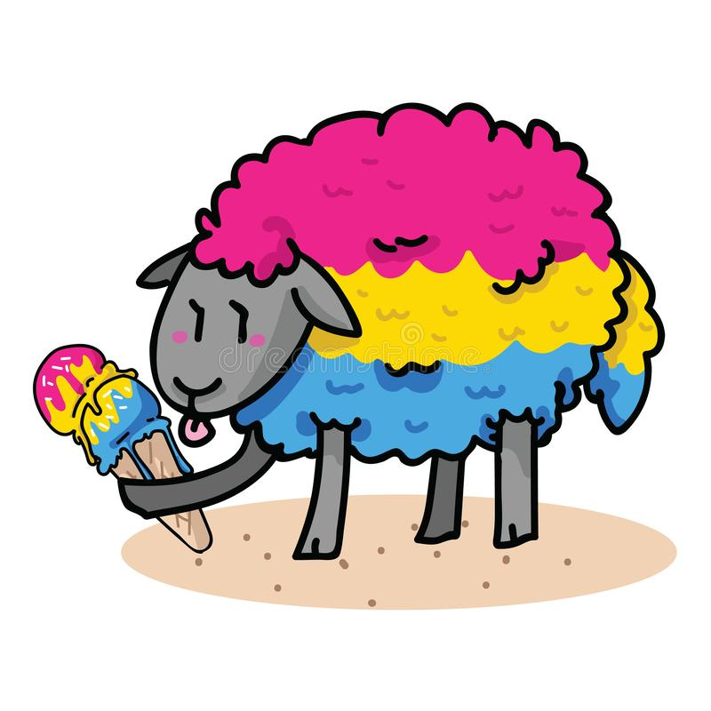 Free Cute Pansexual Sheep With Tasty Ice Cream Cartoon Vector Illustration Motif Set. Hand Drawn Isolated Summer Treat Stock Images - 155537824