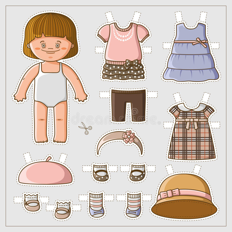 Cute paper doll vector illustration