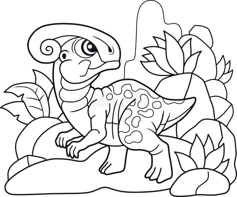 Cute parasaurolophus, funny illustration coloring book. Cartoon cute parasaurolophus, funny illustration coloring book vector illustration