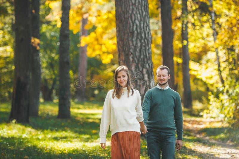 Cute-paret i kärlekens händer och går genom en skog på en sollig höstdag arkivbild