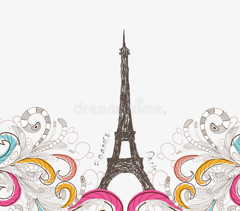 Download Cute Paris Doodle Stock Vector Illustration Of Garden