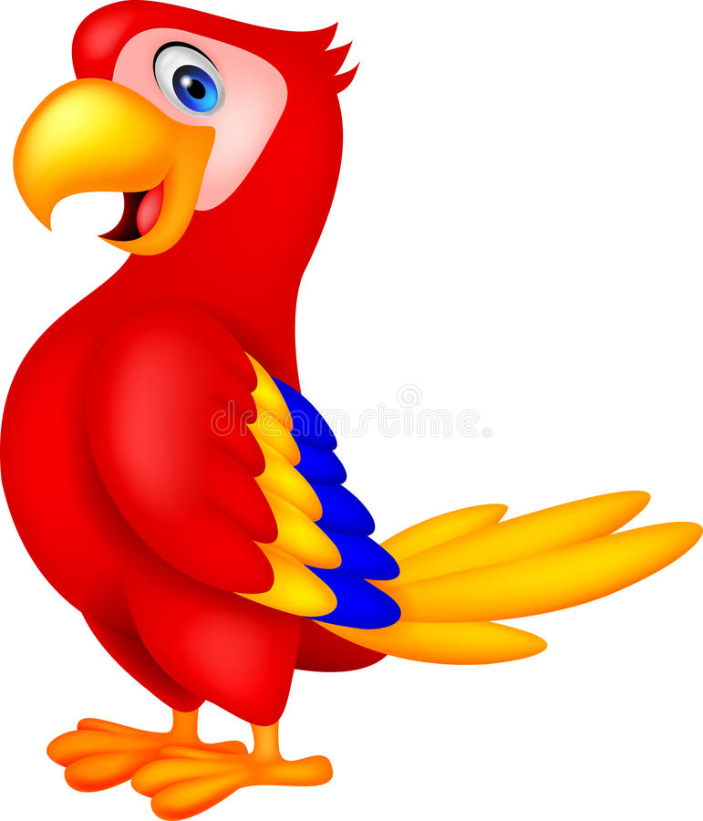 Free Cute Parrot Bird Cartoon Stock Image - 33231621