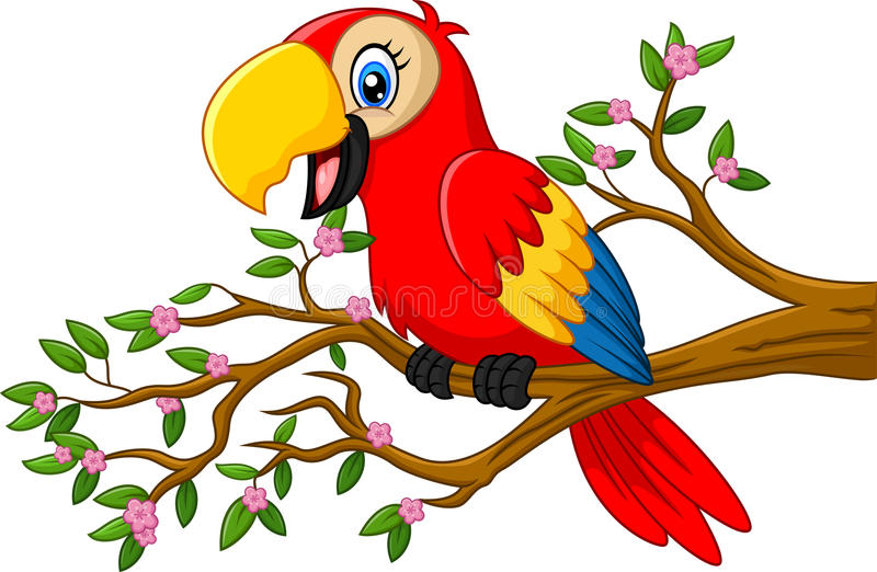 Cute parrot on the branch royalty free illustration