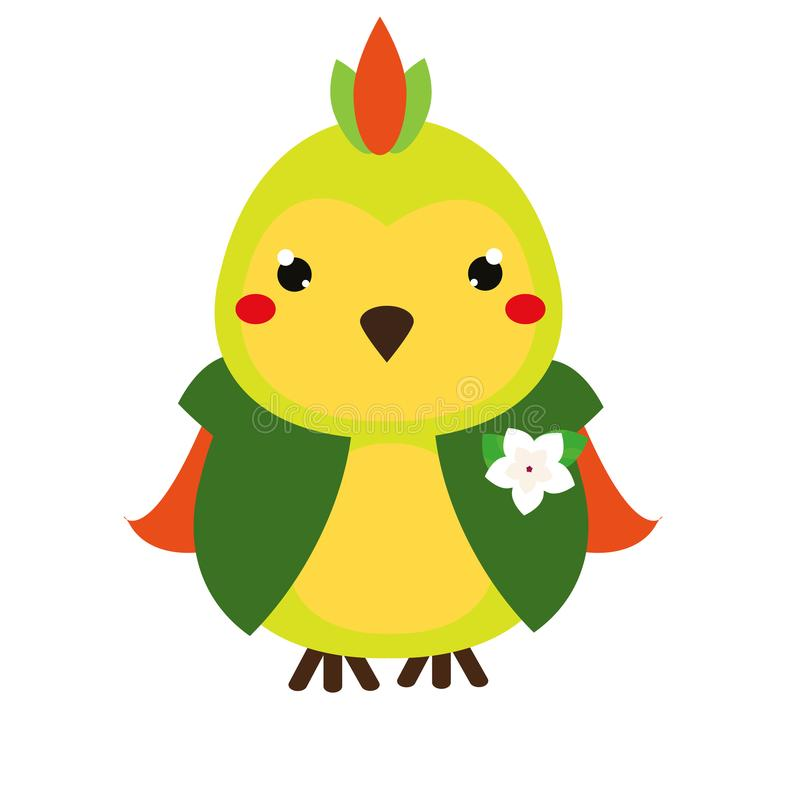 Cute parrot. Cartoon kawaii animal character. Vector illustration for kids and babies fashion vector illustration