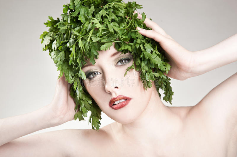Cute parsley haired woman royalty free stock photo