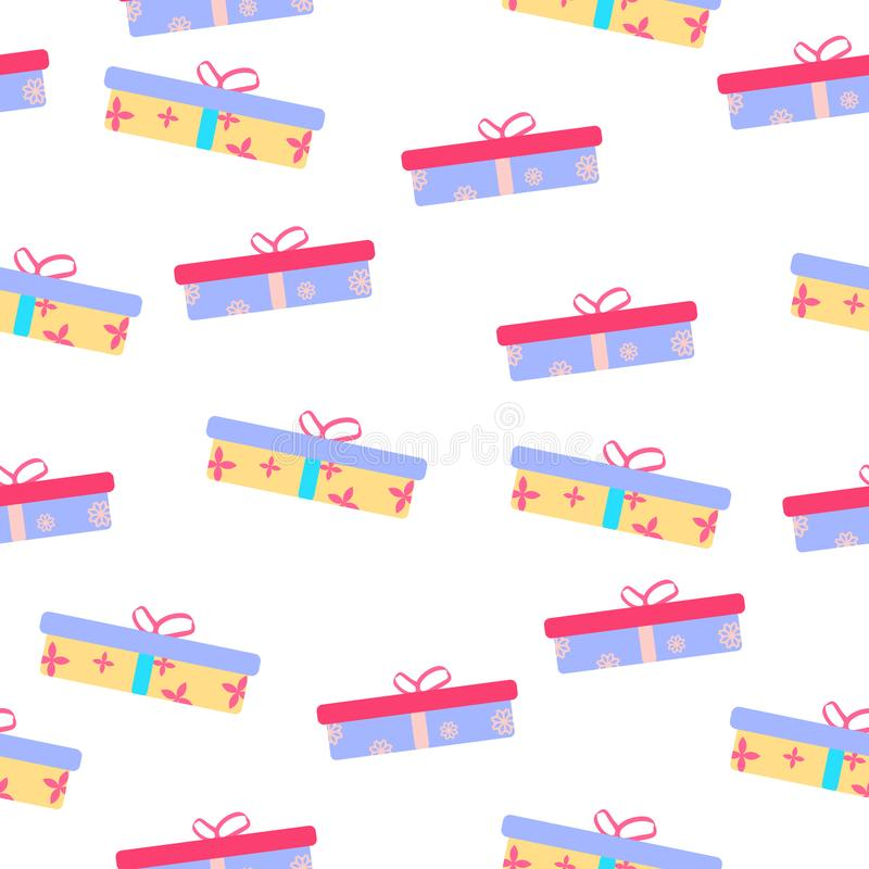 Cute party presents seamless pattern stock illustration