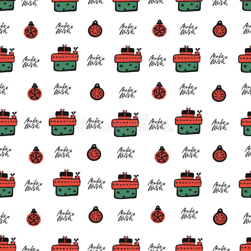 Cute party presents seamless pattern. vector illustration. hadnd drawn. lettering make a wish on white background vector illustration