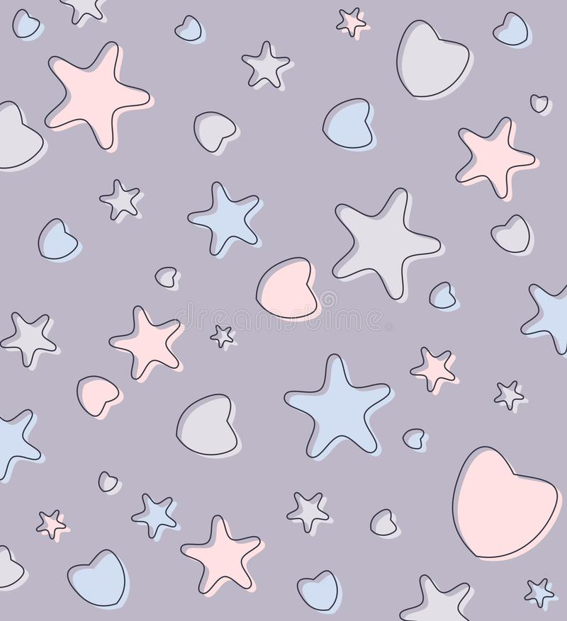 Cute pastel background with hearts and stars vector illustration