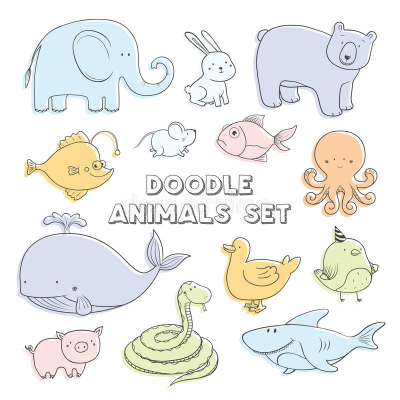 Cute pastel color vector cartoon doodle animals. Lovely sketch collection. royalty free illustration