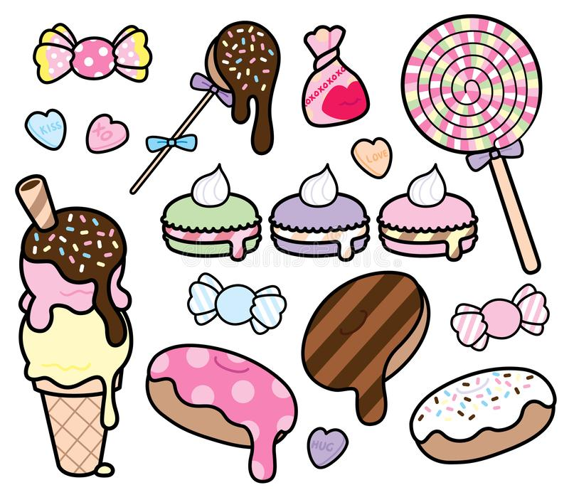 Cute Pastel Colored Desserts and Candies Vector Set stock illustration