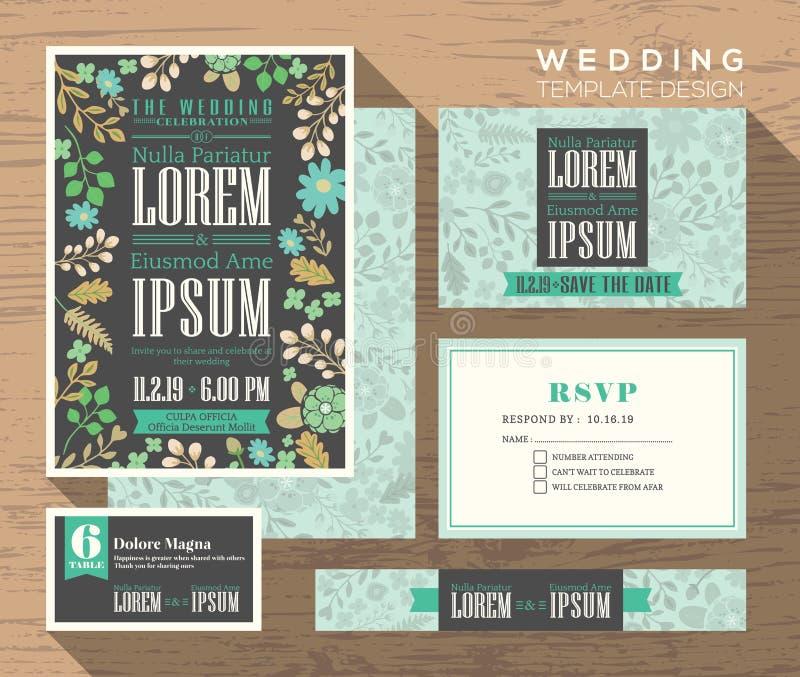 Cute pastel floral pattern wedding invitation set Template stock illustration