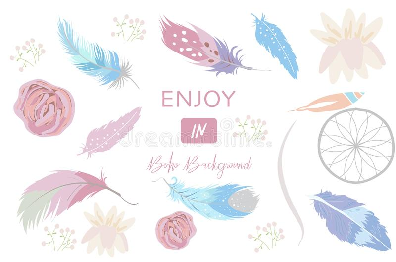 Cute pastel icon with wreath and feather in boho style. On white background stock illustration