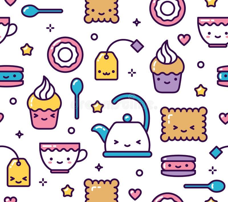 Cute pastel kawaii seamless pattern tea party items vector illustration