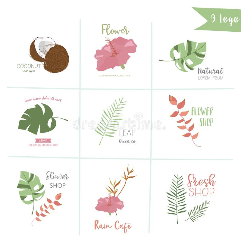Cute pastel logo with palm, coconut tree,hibiscus stock illustration