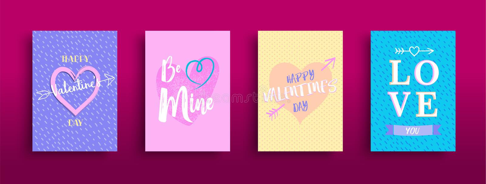 Cute pastel valentines day greeting card set stock illustration