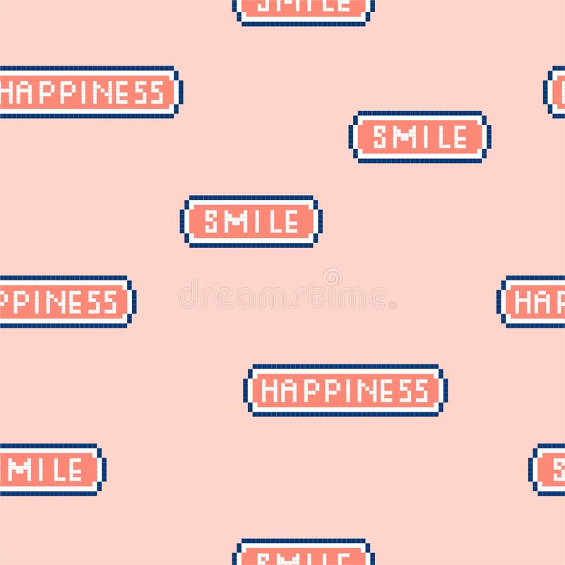 "Cute and pastel Vector illustration seamless patter ""Happiness and smile"" wording in pixel video game 8 bit font. retro royalty free illustration"