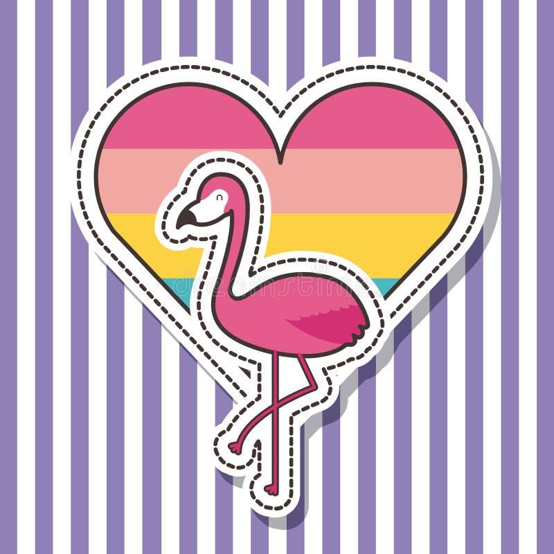 Cute patches badge flamingo bird heart fashion stock illustration