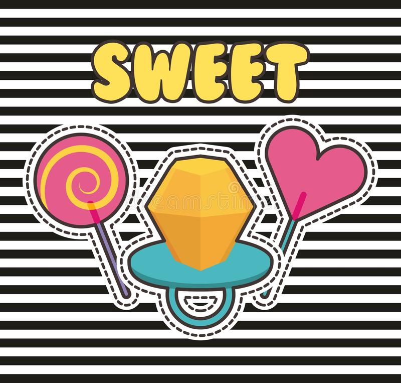Cute patches badge ring candy lollipop stripes fashion. Vector illustration vector illustration