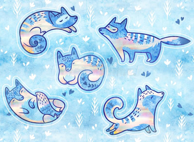Cute patches with polar foxes. Cute stickers or pins collection. Set of cute cartoon cats or polar foxes stickers. Sweety arctic foxes vector illustration