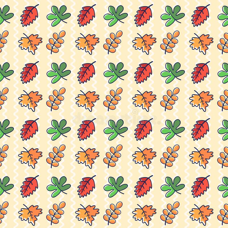 Cute autumn pattern with leaves stock photography