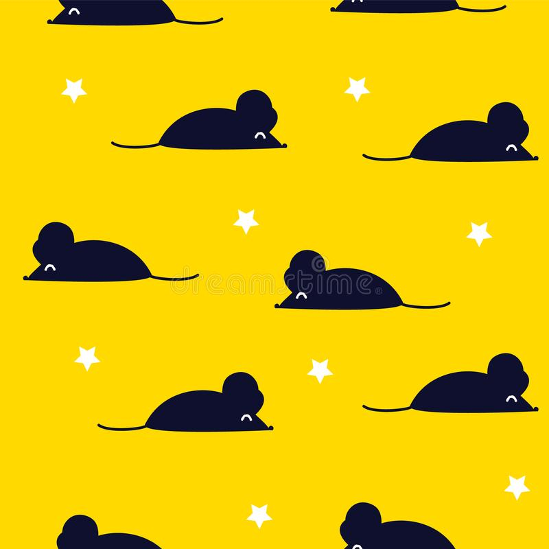 Cute pattern with black mouse and stars on yellow background. Ornament for textile and wrapping. Vector vector illustration