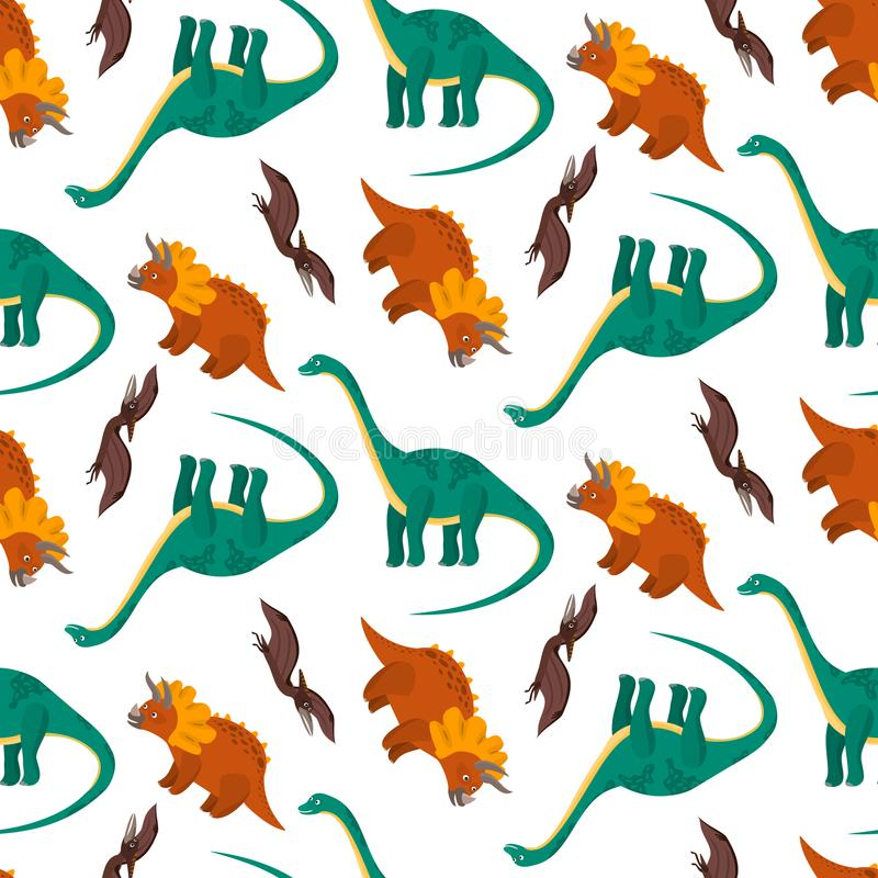 Cute pattern with colorful cartoon dinosaurs. Cute seamless pattern with colorful cartoon dinosaurs. Nice bright childish texture with diplodocus, pterodactyl royalty free illustration